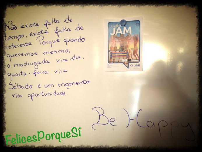 No es falta de tiempo, es falta de interés. Me encontré esta nota un sábado en mi gimnasio en Portugal.
